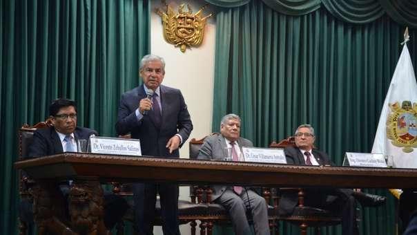El jefe del Consejo de Ministros dio una conferencia en la Universidad Nacional Mayor de San Marcos.