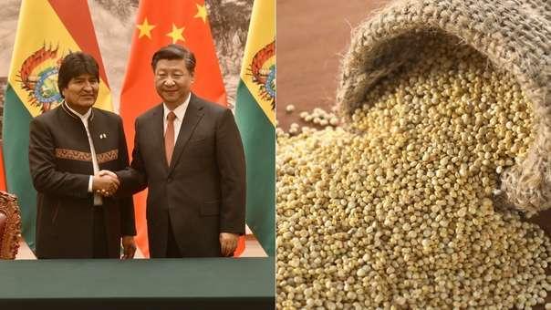 Evo Morales durante una reunión con el presidente de China, Xi Jinping. (izquierda)