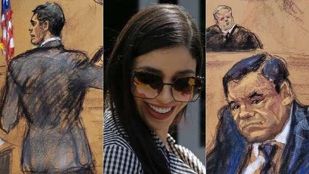 Sketchs del juicio del 'Chapo' (en el que no se puede tomar fotos) y su esposa, Emma Coronel, quien ha asistido a cada una de las audiencias del juicio.