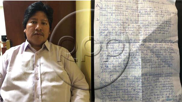La carta de Edwin Oviedo está acompañada de una fotografía suya desde el lugar donde se encuentra recluido.