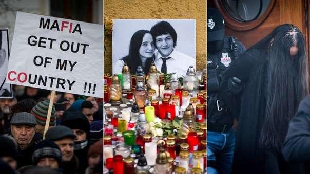 Protestas contra el Gobierno por la muerte del periodista (izquierda),homenaje a la pareja asesinada (centro) y la detención de Alena Zs, sospechosa de haber ordenado el asesinato.