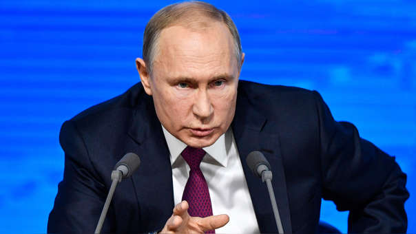 Vladímir Putin durante su conferencia de prensa en Moscú
