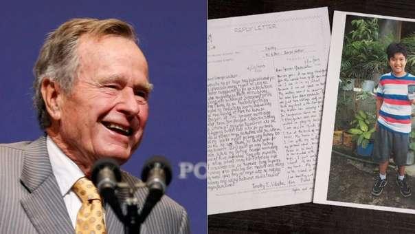 Una de las cartas de George H.W. Bush junto a una foto del niño al que ayudó.