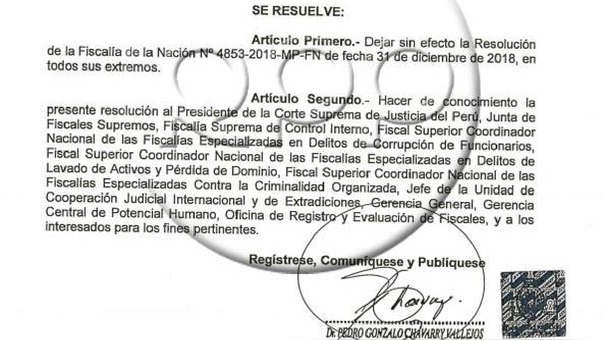 La resolución firmada por Chávarry.