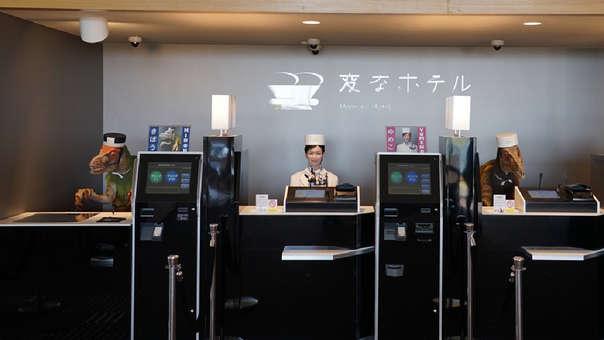 Así luce el ingreso al hotel Henn Na, en Japón