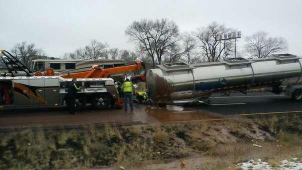 Así quedó el camión tras el accidente.