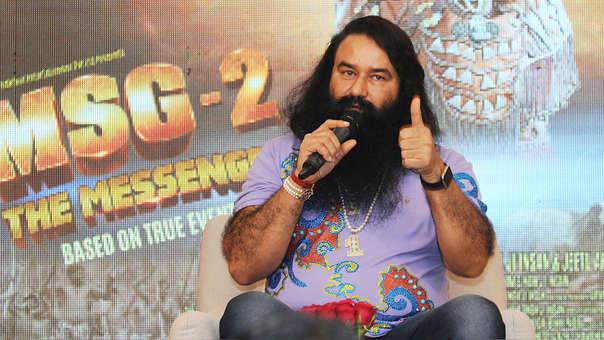 Gurmeet Ram Rahim Singh en una conferencia previa al estreno de su película 'MSG Messenger of God' II en septiembre del 2015, en Nueva Deli, India.