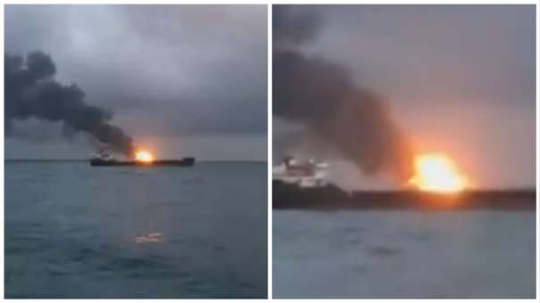 Incendio barcos Kerch