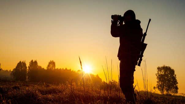 Un cazador mira al horizonte