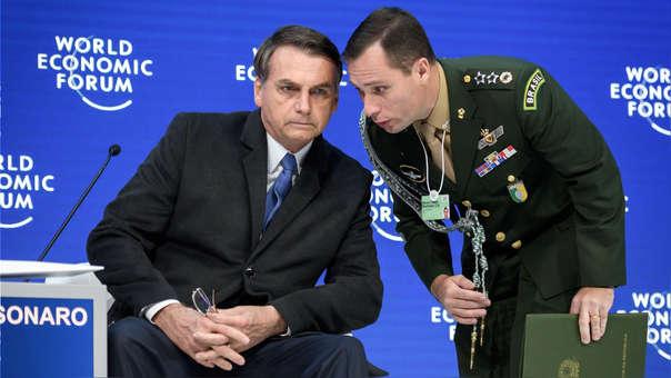 Jair Bolsonaro durante el foro de Davos.