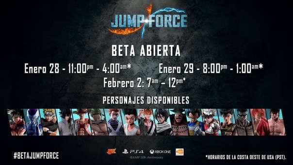 Bandai Namco anuncia nueva beta abierta para Jump Force, estos son los horarios y personajes.