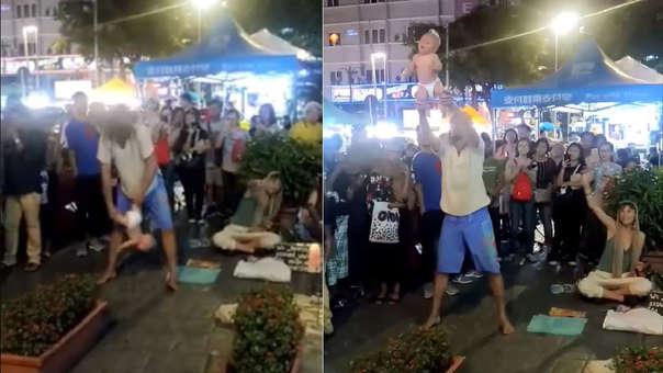 Captura del video que registra el maltrato al menor