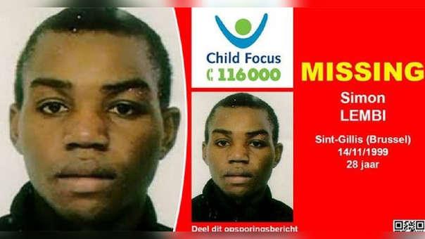 Afiche por la desaparición de Simon Lembi. Su caso fue uno de los más sonados en Bélgica.