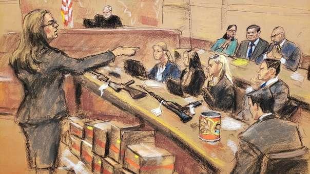 Ilustración del juicio de Chapo
