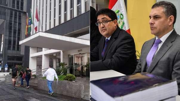 Izquierda: entrada al edificio donde funciona el consulado de Perú en Sao Paulo. Derecha: el procurador Jorge Ramírez  y el fiscal Rafael Vela, con las actas de la firma del acuerdo, durante la conferencia de prensa.