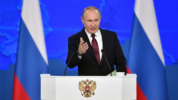 Vladímir Putin durante su mensaje anual a la nación, este 20 de febrero del 2019.