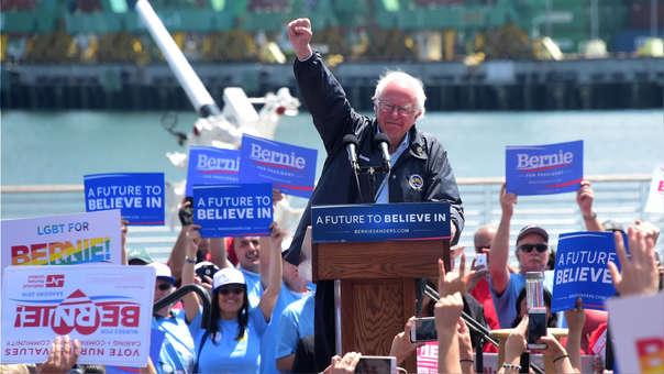 Bernie Sanders durante su campaña del 2016, donde perdió la nominación del Partido Demócrata ante Hillary Clinton, quien luego sería derrotada por Donald Trump.