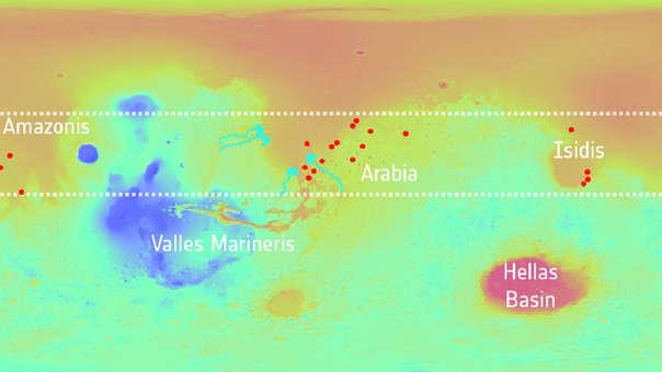 Así fue la distribución del sistema de lagos en Marte.