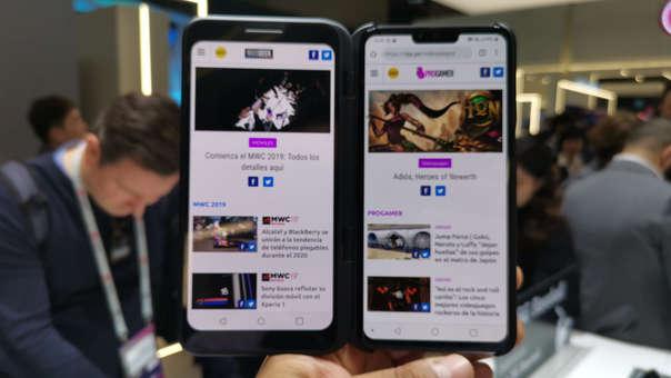 ASí luce el LG V50 con el case de pantalla extendida