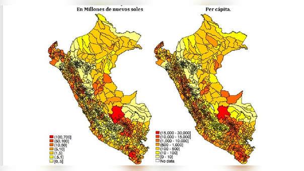MAPA. Transferencias por Canon hacia los Gobiernos Locales 2015-2017.