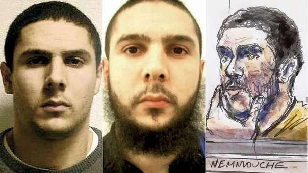 Fotos de Mehdi Nemmouche (izquierda y centro) y dibujo de su aparición durante su juicio (derecha).