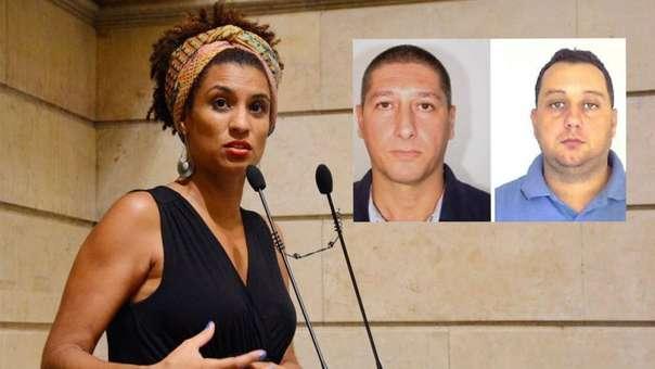 Marielle Franco y los sospechosos del crimen: Ronnie Lessa (izquierda) y Elcio Vieira de Queiroz (derecha).