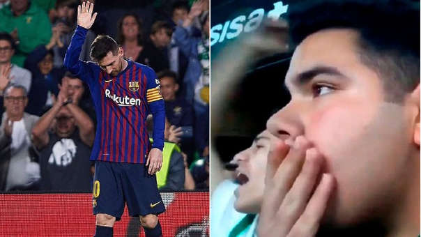 Hincha del Betis no aguantó y se rindió ante golazo de Messi a su equipo