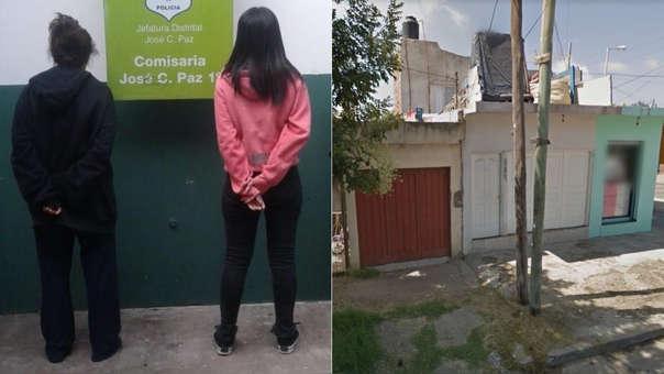 Las mujeres detenidas (izquierda) y la vivienda donde ocurrió el hecho (derecha).
