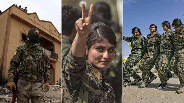 Combatienes de las Fuerzas de Siria Democrática tras su victoria ante el Estado Islámico.