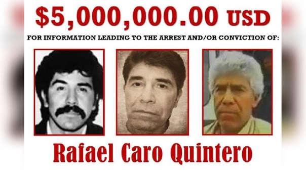 Oferta de recompensa para la captura de Caro Quintero, el 'narco de narcos'.
