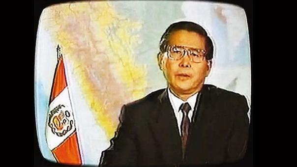 Captura del Mensaje a la Nación en el que Fujimori anunció la disolución del Congreso.