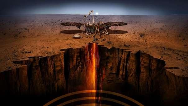 Ilustración de la sonda InSight en Marte.