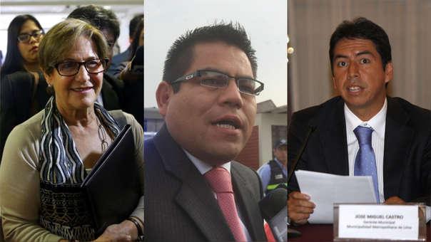 La fiscalía ha pedido 36 meses de prisión preventiva contra Susana Villarán (izq.), Gabriel Prado (cen.) y José Miguel Castro (der.)