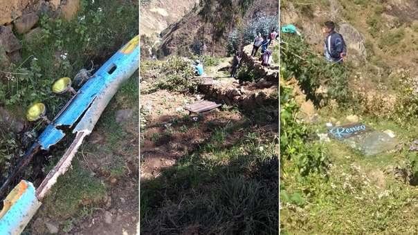 Un bus cayó a un abismo en Yungay.