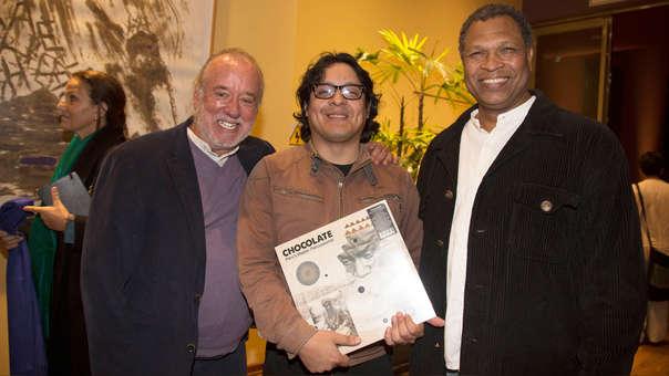 Manongo Mujica, Luis Alvarado y Luis Sandoval. Ellos presentaron el disco en un conversatorio sobre música afroperuana.