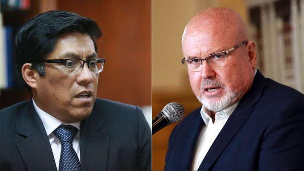 Ministro de Justicia, Vicente Zeballos, y Carlos Burce, congresista de Peruanos por el Kambio.