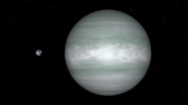 Así es la comparación tre la Tierra y el exoplaneta HD 156411 b.