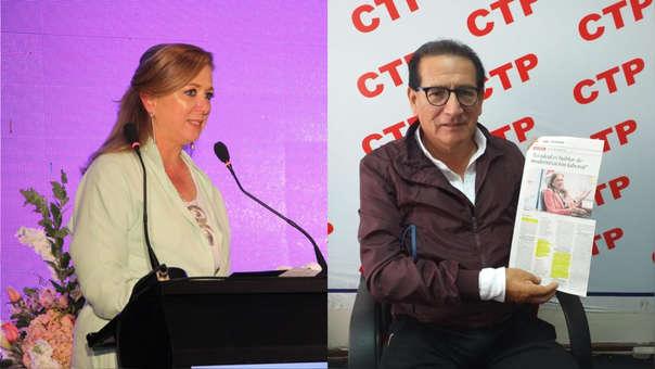 María Isabel León, presidenta de Confiep, y Elías Grijalva, secretario general de la Confederación de Trabajadores del Perú (CTP).