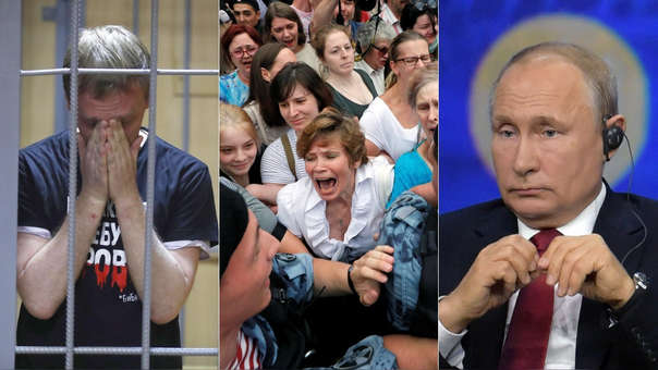 Golunov fotografiado durante su detención (izquierda), protestas contra el Gobierno por la detención del periodista (centro) y Vladímir Putin, presidente de Rusia (derecha).