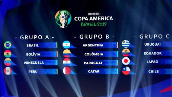 Entre el 14 de junio y el 7 de julio disputarán la Copa América 2019 los diez miembros de la Conmebol (Argentina, Bolivia, Brasil, Chile, Colombia, Ecuador, Paraguay, Perú, Uruguay y Venezuela) y Japón y Catar como países invitados.