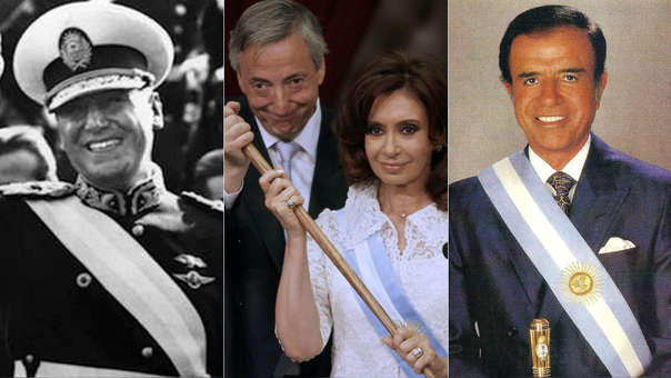 Los expresidentes argentinos Juan Domingo Perón (izquierda), Néstor Kirchner y Cristina Fernández (centro), y Carlos Menem.