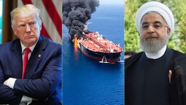 Donald Trump, presidente de los Estados Unidos; imagen del buque petrolero atacado; y Hasán Rohaní, presidente de Irán.