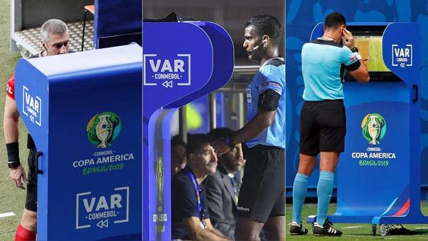 Copa América 2019 | Árbitros revisan el VAR durante el Uruguay vs. Ecuador (izquierda), el Colombia vs. Catar (centro) y el Venezuela vs. Perú (derecha).