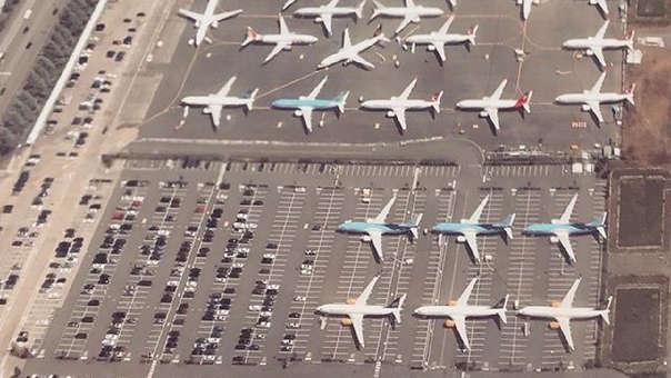 Parte del estacionamiento de Boeing en Renton, Washington