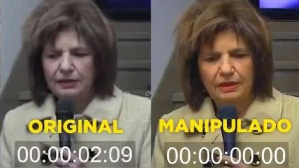 Captura del video original y del video manipulado de la ministra argentina