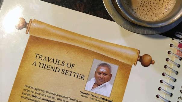 P. Rajagopal, fundador de la popular cadena Saravana Bhavan, en uno de los menús de sus restaurantes.