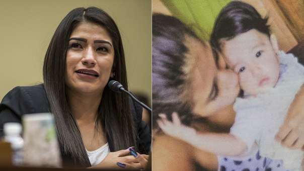 Yazmin Juárez frenta al Congreso de EE.UU. (izquierda). A su lado, detalle de la foto con su bebé que llevó a su presentación.