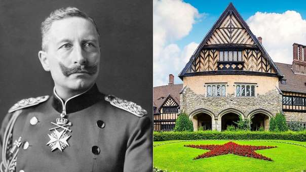 Retrato del kasier Guillermo II y el histórico Palacio Cecilienhof, en Brandeburgo, Alemania.