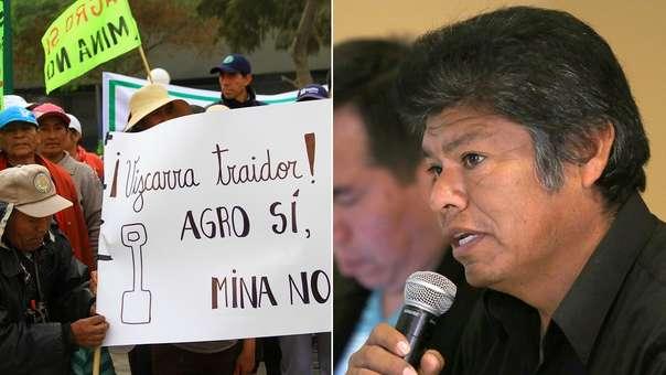 Pobladores del valle agrícola del Tambo marchan en contra del proyecto minero Tía María este lunes.