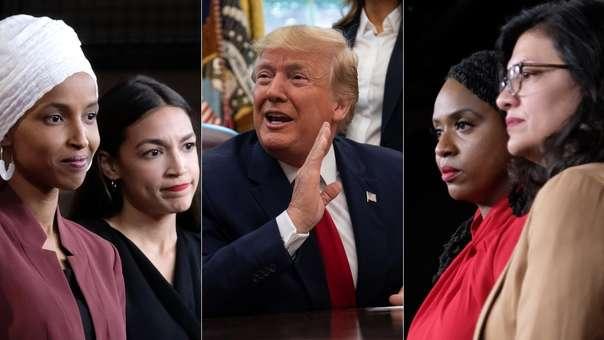 Donald Trump y las congresistas mujeres que se han convertido en su punto de ataques.